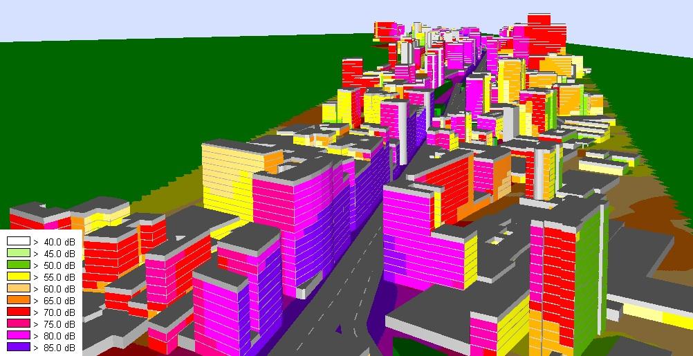 simulação do ruído de fachada de edifícios